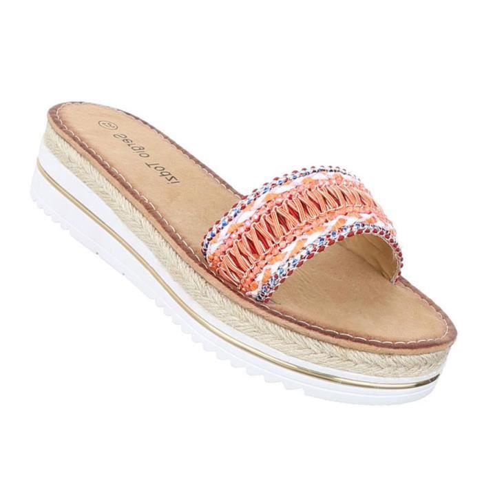 Femme sandales chaussures chaussures de plage chaussures d'été Pantoletten orange 41
