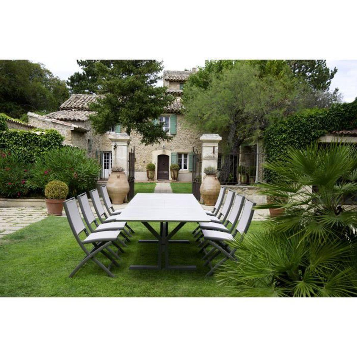 Salon de jardin Table Beauty avec 6 chaises Keneath couleur Muscade