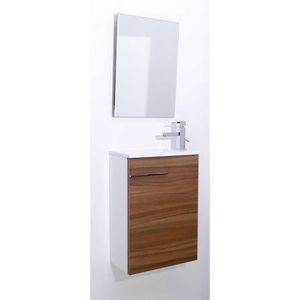 SERVITEUR WC Lave-main imitation bois marron Azur - Id'Click