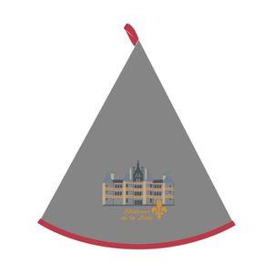 TORCHON - ESSUIE-MAIN Essuie-mains rond brodé Château de Chambord gris d