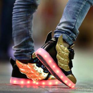 Mode enfants ChaussuresGarçon Fille 7 Couleu Enfants USB Charge LED Lumière Lumineux Clignotants Chaussures de Sports Baskets k44ejZrK