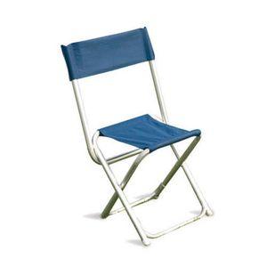 CHAISE Chaise pliante en alu/polyester bleu - Dim : 76 x