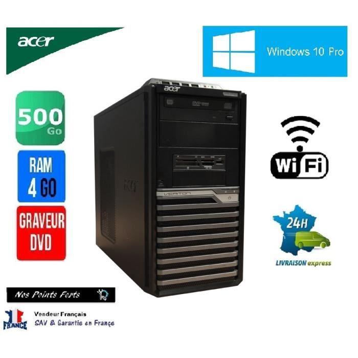 pc tour ordinateur acer veriton m421g amd x2 500 go 4 go windows 10 pro wifi prix pas cher. Black Bedroom Furniture Sets. Home Design Ideas