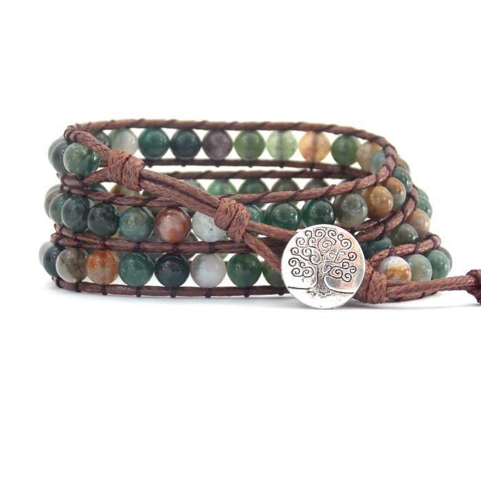 Womens Tree Of Life Bracelet Fancy Jasper Beaded Wrap O1I0Q