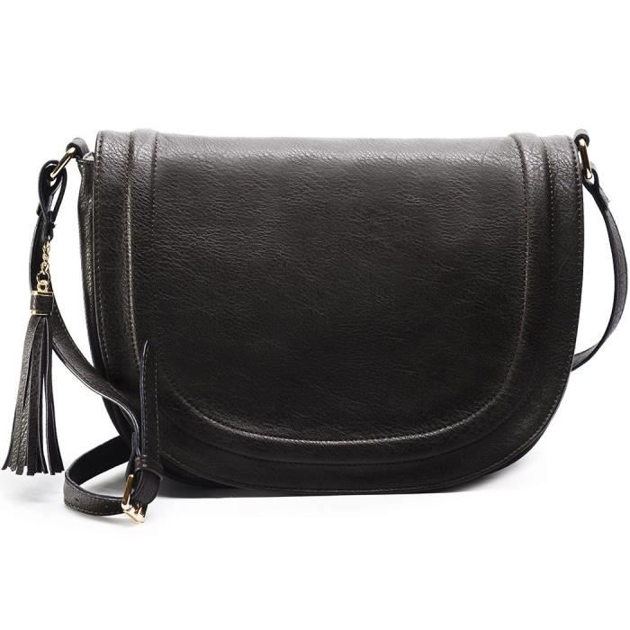 Grand sac de selle épaule de Crossbody porte-monnaie avec pompons LOFXJ