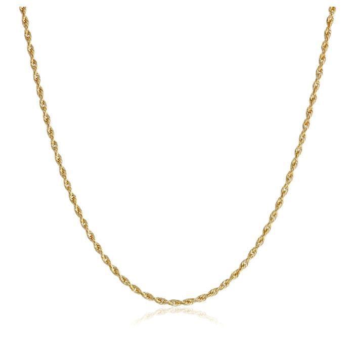 14k Yellow Gold Solid Rope Chain Necklace (1.0mm ), 18 H5HKW
