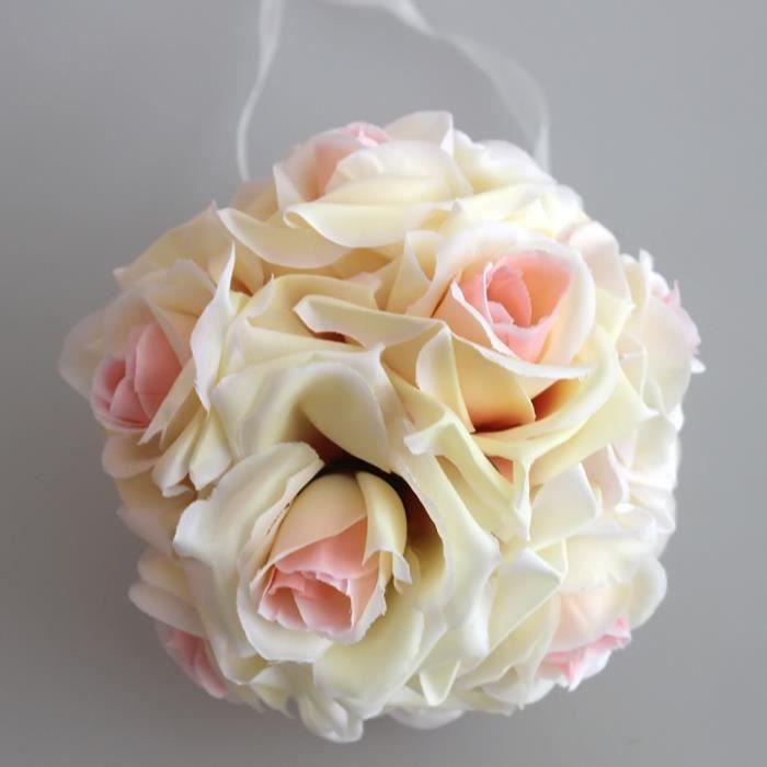 champagne 15cm boule de mariage rose fleur en tissu - achat / vente