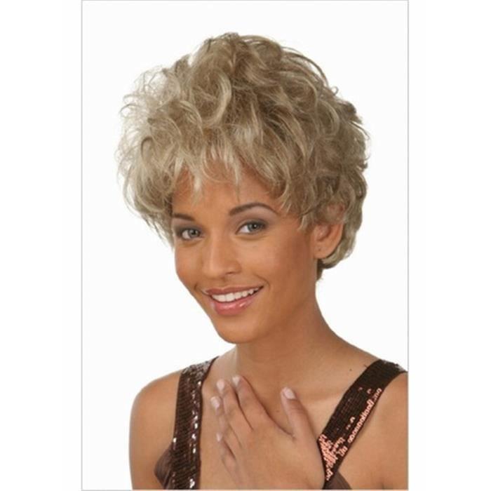 couleur blond gris cheveux courts ondul s r sistant la chaleur fibre perruque synth tique. Black Bedroom Furniture Sets. Home Design Ideas