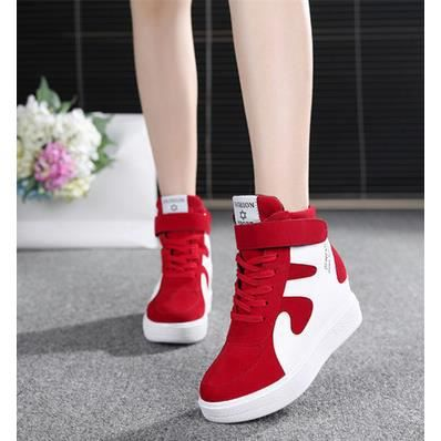 Haut-dessus chaussures chaussures de sport dans les chaussures à semelles de chaussures de toile plus élevés, rouge 36