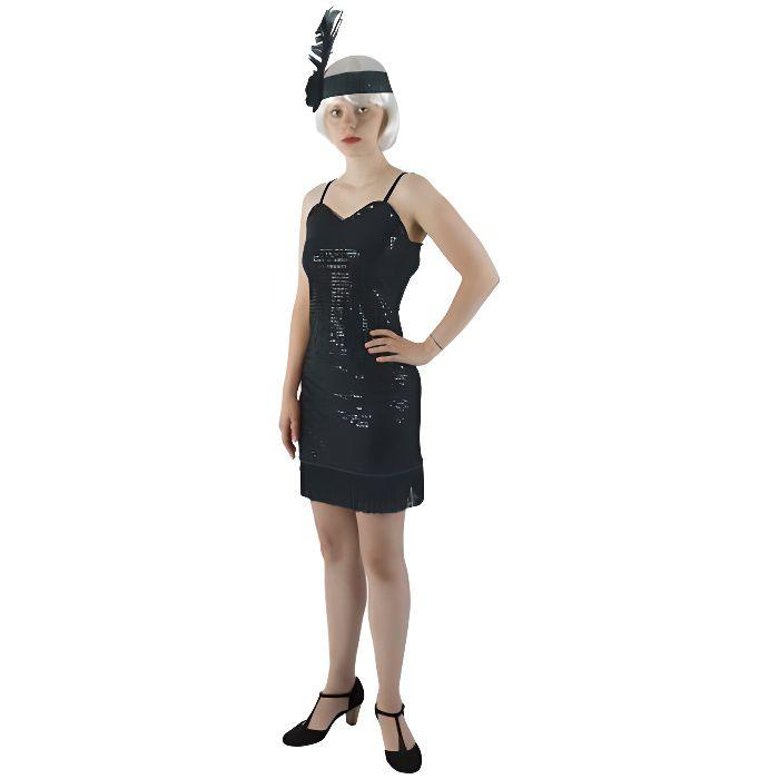 d2643583e86 Déguisement Charleston femme robe noir franges - Achat   Vente ...