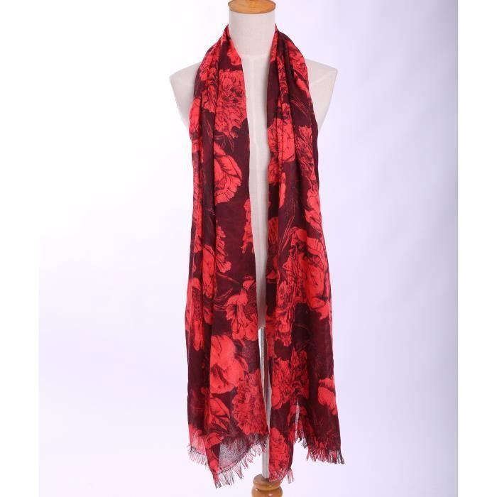 Écharpe femme hiver coton foulard en tricot 80 200 CM bohême fleur lacet  doux et confortable ---Rouge 8b803b2a73a