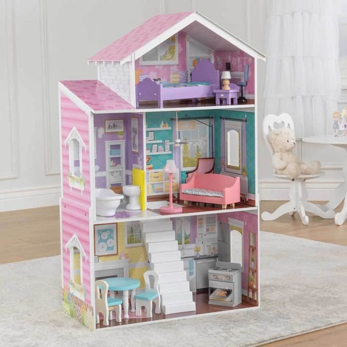 grande maison de poupee en bois achat vente jeux et jouets pas chers. Black Bedroom Furniture Sets. Home Design Ideas