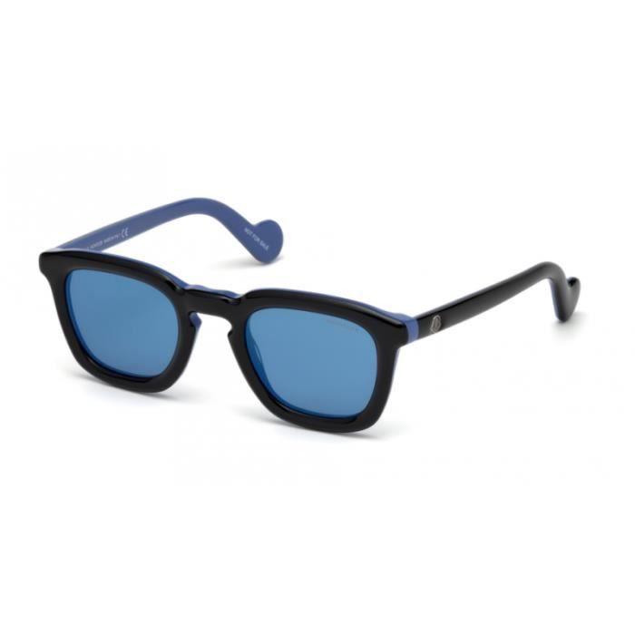 Lunettes de soleil Moncler ML0006 05X Noir Brillant et Bleu 50-25