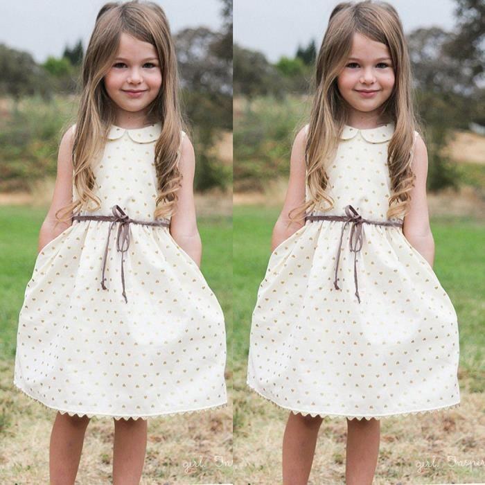 Nouveaux enfants fille poupée mignonne collier sans manches robe bain de soleil 2-9Y