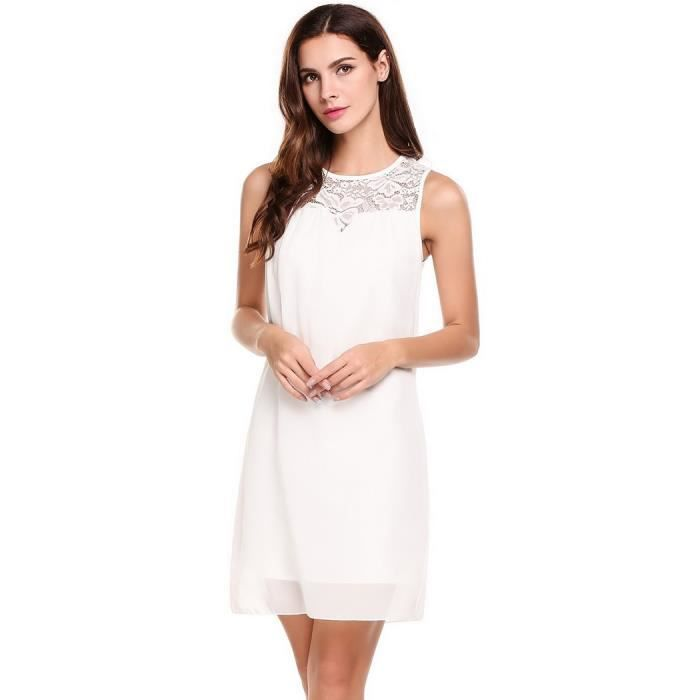 O Femmes Robe Neck Bouton Patchwork Floral sexy Casual Hq6qrRE8w
