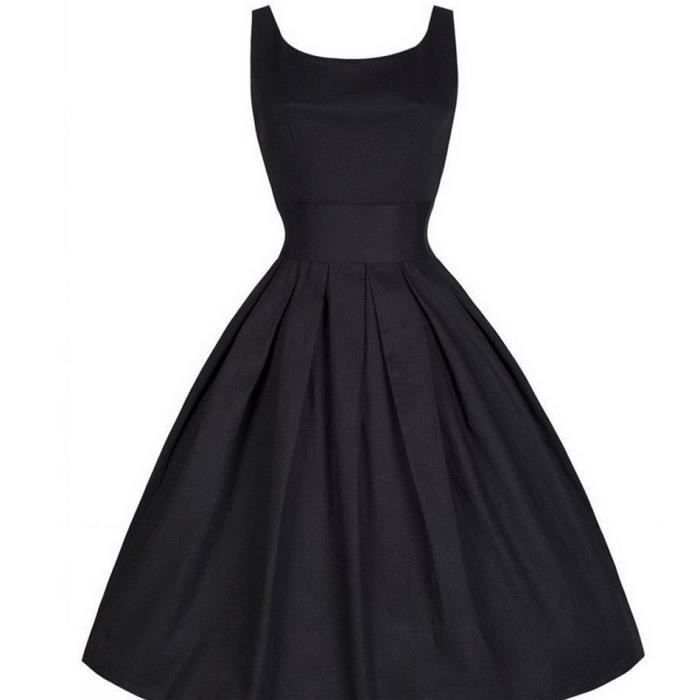 3aa7e51fd80 Robe boule femme Nouveau mode Vintage Style sans manches Noir ...