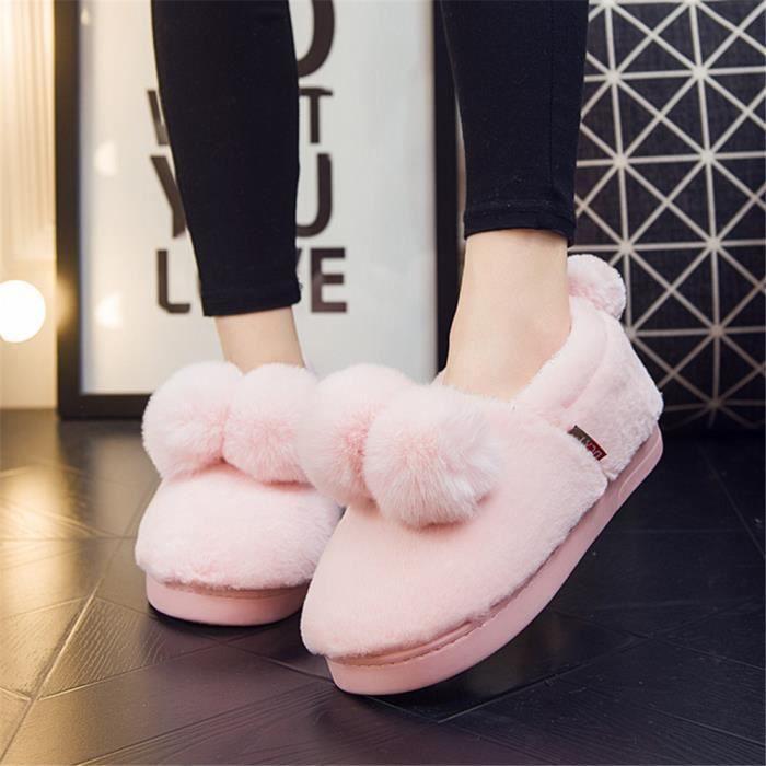 Mouton Chaussons Doux Hiver Chausson Beau Confortable Garde Au Chaud Coton Femme Chaussure Couple Mignon rose Plus De Cachemire ZVQpGmZ
