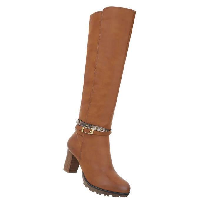 Chaussures femmes bottes High Heels Beige 41
