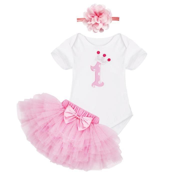 b2c98b9dc589a Ensemble vêtement Bébé Filles Princesse - Robe rose Tutu en tulle avec  noeud papillon fête DE 0 à 12Mois