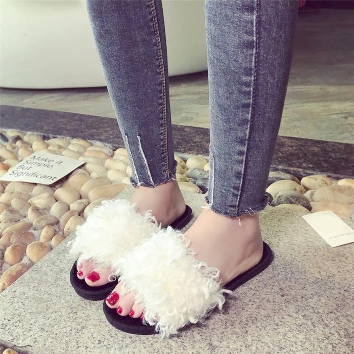 Sandales Fausse Sliders Flop Plat 216 cu Fluffy Slip Fourrure Mesdames En Femmes Chaussons On Blanc Flip FPYq1A4