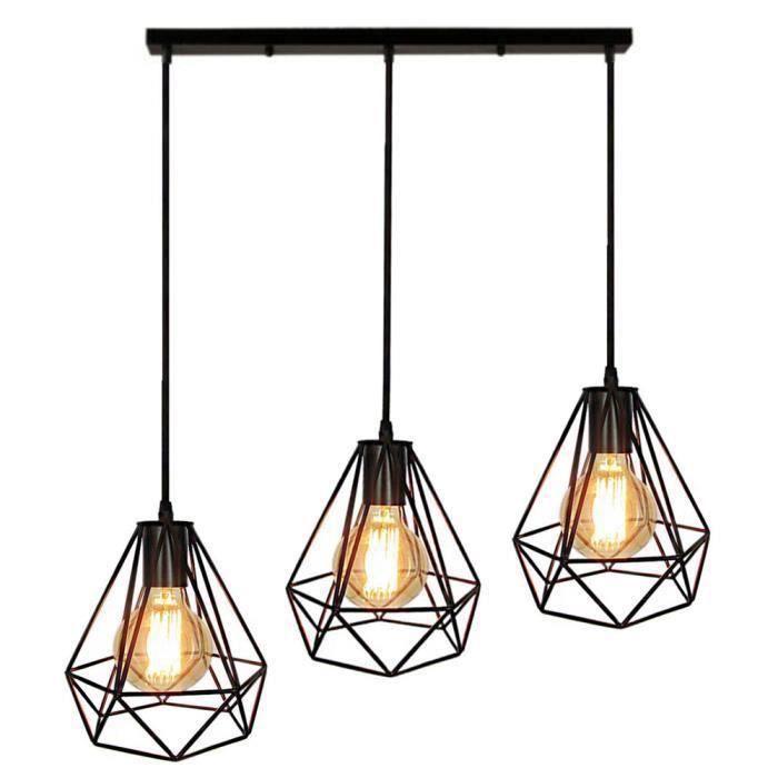 Plafond Fer Lampes Diamant Lustre Avec Eclairage Industriellesans Ampoule Cage Forme En De Douille Abat Suspension Style Jour ZiOPuXTk