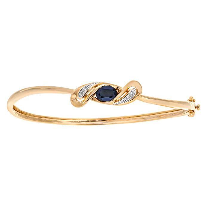 Revoni - Bracelet jonc en or jaune 9 carats, saphirs et diamants- REVCDPBC02506YSA
