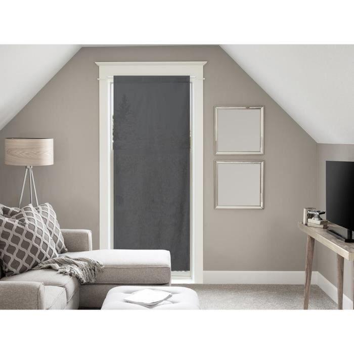 Voile Pour Porte Fenêtre En Coton 70x200 Cm Panama Anthracite