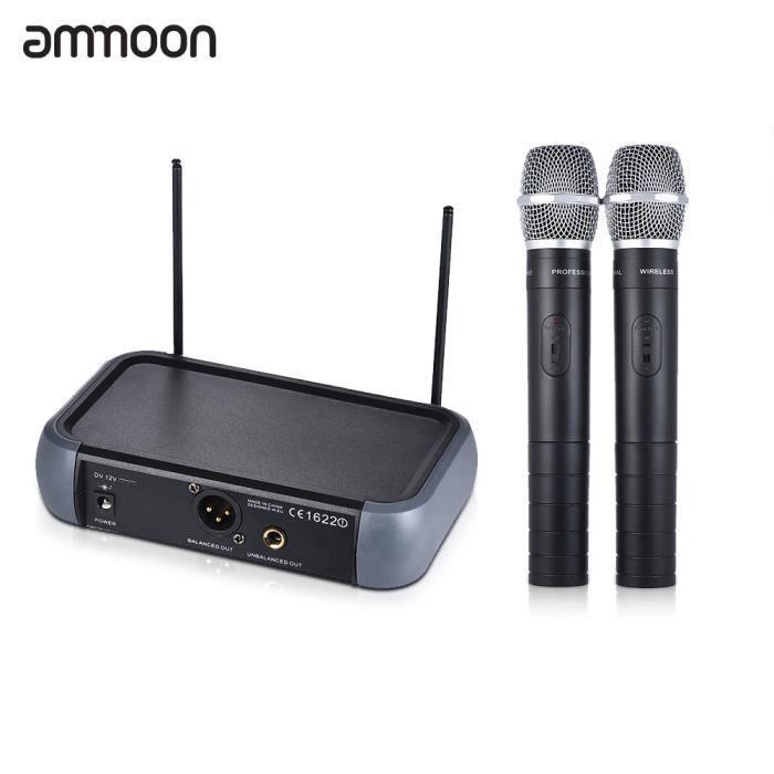 Ammoon Vhf Sans Fil Double Canal Microphone Portable 2 Microphones 1 Récepteur Câble Audio De 6,35 Mm Pour La Représentation