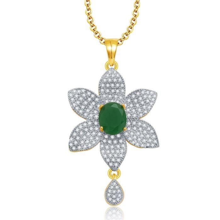 Femmes dor raffiné et rhodié Set Emerald Cz Pendentif pourTT3ZZ