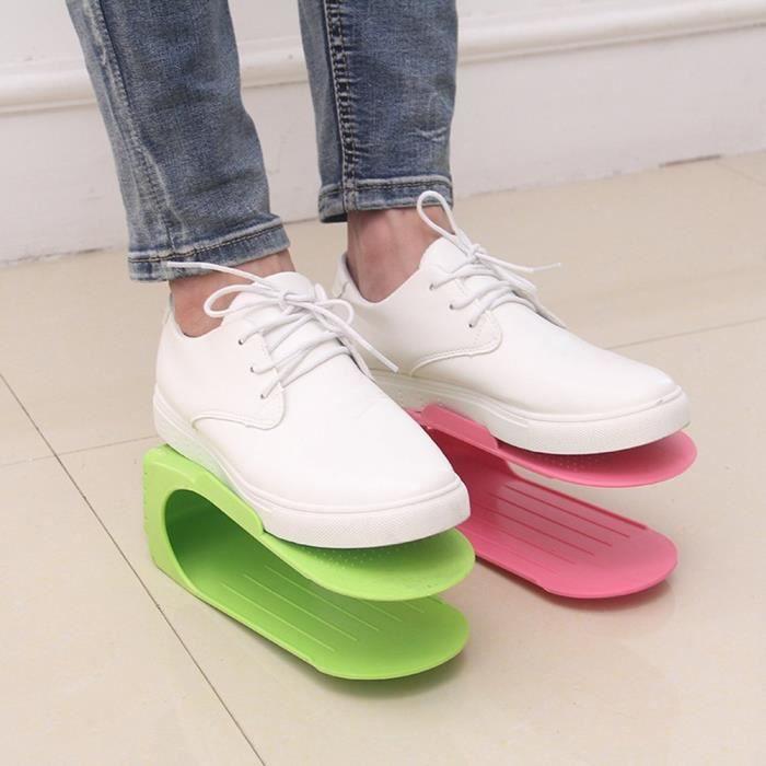 réglable à chaussures Organiseur de logements, Hulisen Plastique économie d'espace à chaussures support Rack, Lot de 5
