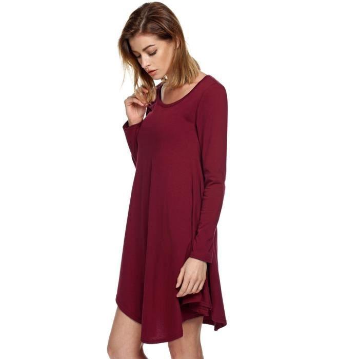 Mini robe lâche irrégulière à manches longues