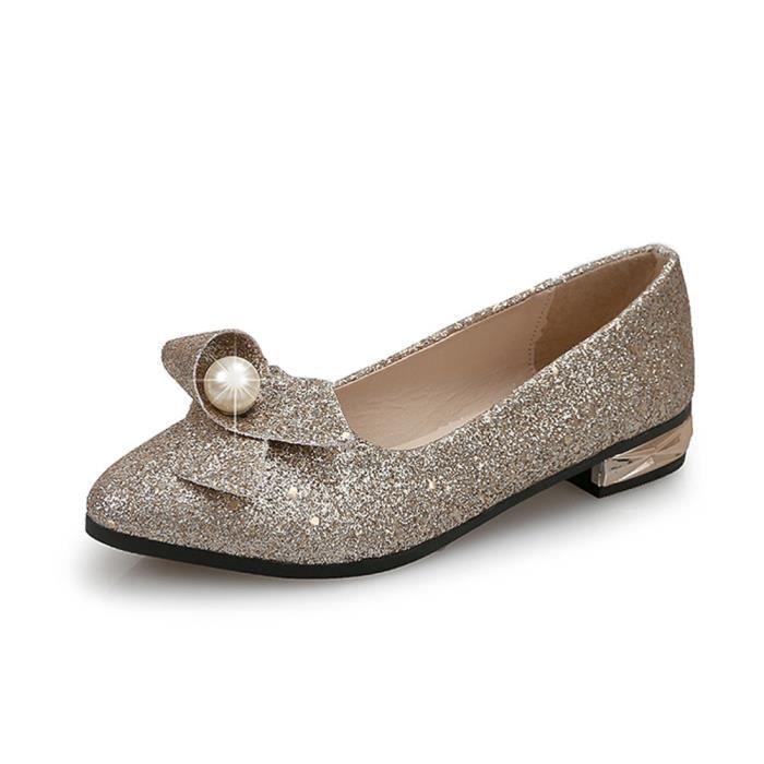 Napoulen®Femmes talon plein paillette Ballet Slip sur plats mocassins chaussures Dore-XYY70811512GD
