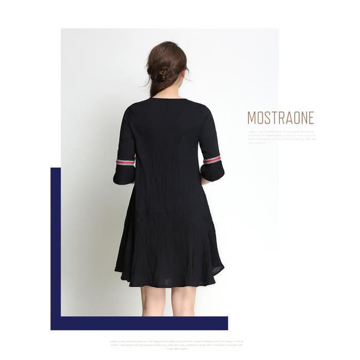 robe noire femmes demi-manches plus taille nouvelle été 2018 noir et blanc robe décontractée grande taille lâche élégant