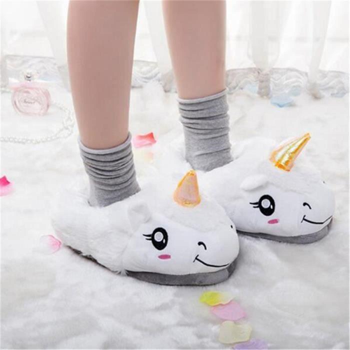 licorne pantoufles Hiver Chaud Pantoufles En Peluche pantoufles intérieur Kirin pour Adultes Coton doux chaud Chaussures AipOmFp
