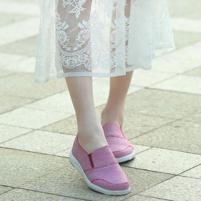 Plus Size 35 ~ 40 Chaussures printemps en toile rayée Femmes Casual Flats Comfort Mocassins Slip On,bleu,40