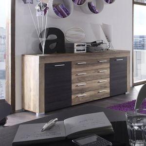 BUFFET - BAHUT  Buffet bahut contemporain couleur noyer et chêne f