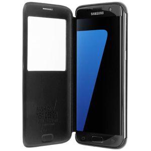 HOUSSE - ÉTUI Housse Etui Fenêtre Samsung Galaxy S7 Edge - Noir