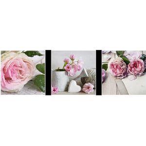TABLEAU - TOILE Set de 3 tableaux Art Fleurs 20 x 20 cm
