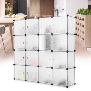 ARMOIRE DE CHAMBRE LANGRIA 16 Cubes Armoires Étagères Plastique Meubl