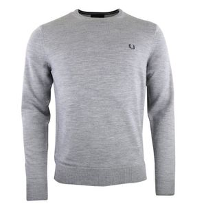 PULL Fred Perry Pull gris laine Merinos col rond K7211