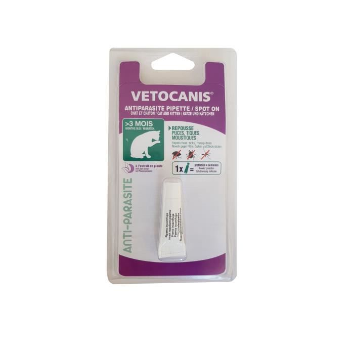 VETOCANIS PIPETTE ANTIPARASITAIRE 1X0,6ML CHAT