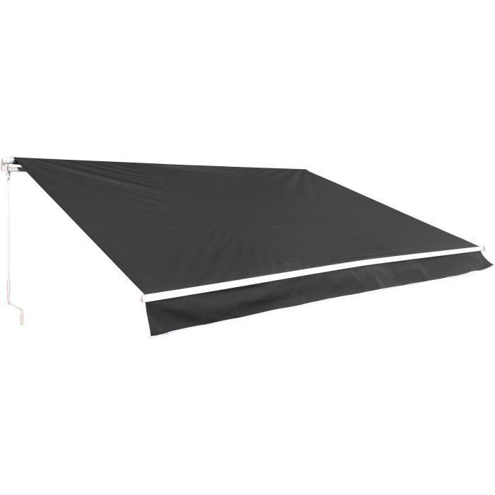 Store banne manuel 2,5 x 2 m - sans coffre - toile grise anthracite