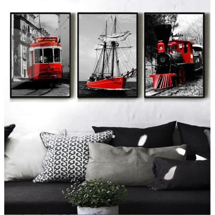 objet dcoration murale moderne 3 panneaux noir et blanc couleur srie rou