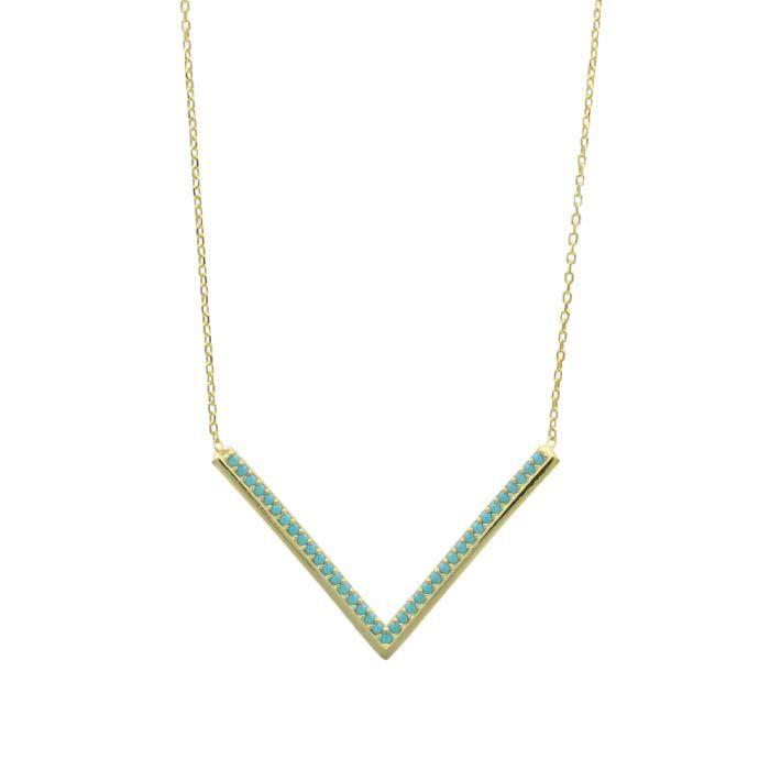 Collier argent 925/1000 et doré et turquoise synthétique 40+5cm