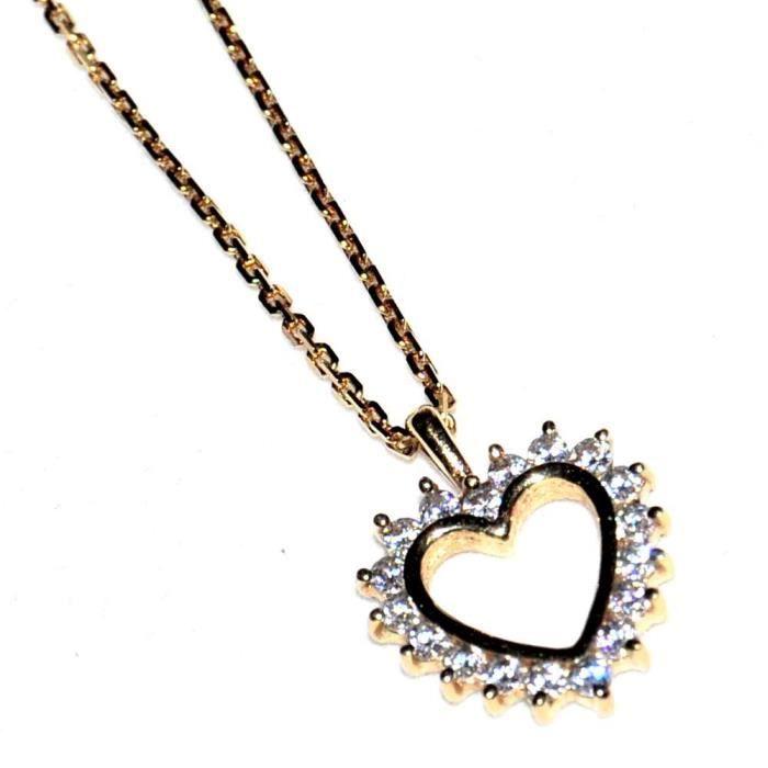 bijou Collier en plaqué or poinçonné chaîne + pendentif coeur zirconium