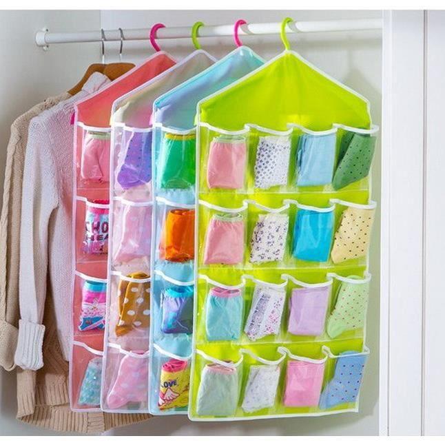 16 poches sur range chaussures en tissu porte suspendus hanger closet espace de stockage m. Black Bedroom Furniture Sets. Home Design Ideas