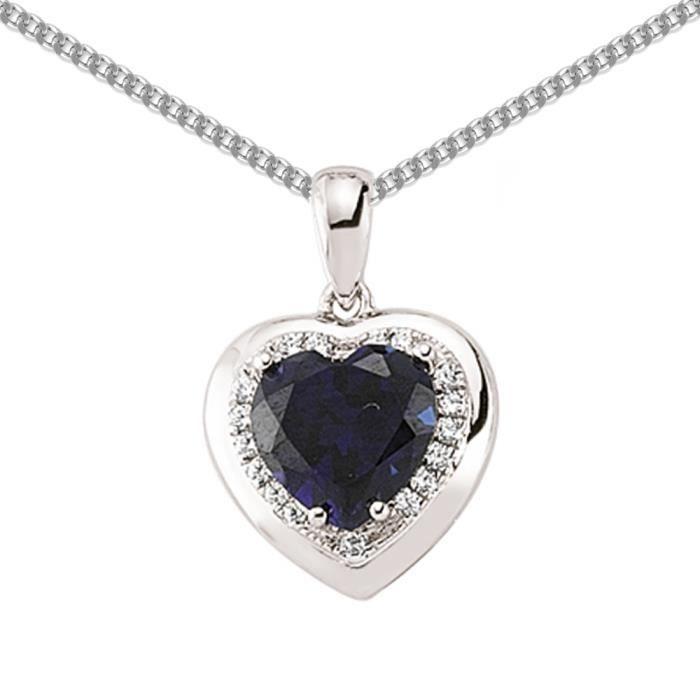 Jewelco London Plaqué Rhodium Argent Sterling Bleu et Blanc CZ Love Heart Halo pendentif Collier 45cm