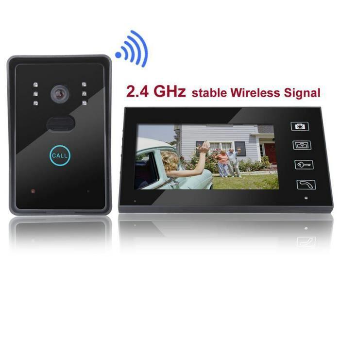 """7 """"tft 2.4g sans fil vidéo portier interphone sonnette visiophone"""