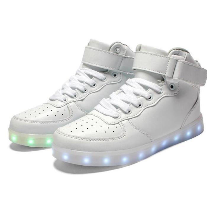 Baskets leds 7 multicolore de recharge USB Haut-top Chaussures Homme Femme KIANII® Blanc