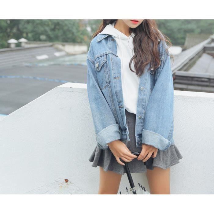 6cc7f484111d7 Bleu clair Veste courte femme en denim jacket jeans manche longue avec  poches boutons boyfriend décontracté printemps-automne